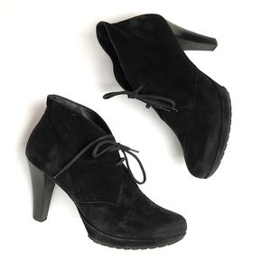 Paul Green Black Suede Ankle Laceup Booties